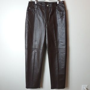 Jeanology| Chocolate Brown Leather Pants (A823)